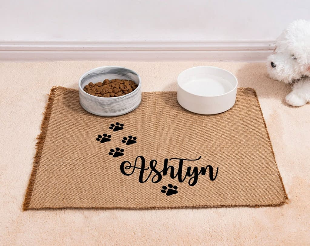 Personalised Dog Feeding Mat with name, Dog Placemat, Pet Placemat for Dog Food Bowl,Jute Dog Mat Placemat,Waterproof Pet Mat,Dog Lover Gift